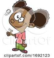 Cartoon Black Girl Flipping A Coin
