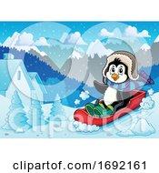 Christmas Penguin Sledding