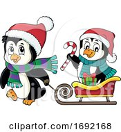 Christmas Penguins With A Sled