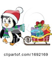 Christmas Penguin With A Sled