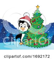 Christmas Penguin With A Tree