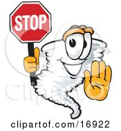 Clipart Picture Of A Tornado Mascot Cartoon Character Holding A Stop Sign by Toons4Biz