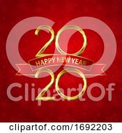Happy New Year Background With Gold Numbers And Red Ribbon