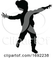 Silhouette Child Kid In Christmas Winter Clothing