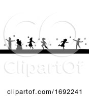 Poster, Art Print Of Silhouette Christmas Children In Winter Playing