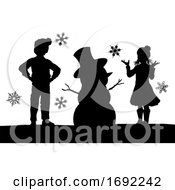 Silhouette Christmas Children Building Snowman