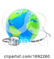 Poster, Art Print Of Globe World Health Day Earth Stethoscope Concept