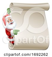Santa Claus Scroll Sign Christmas Cartoon