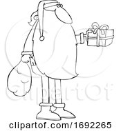 Cartoon Santa Claus Holding Out A Gift