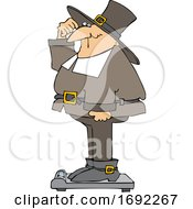 Poster, Art Print Of Cartoon Pilgrim Standing On A Scale Showing Holiday Weight Gain After Thanksgiving