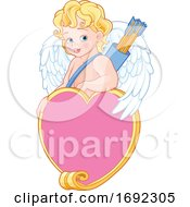 Poster, Art Print Of Cute Blond Baby Cupid With Arrows Over A Heart Frame