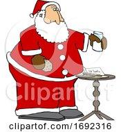Cartoon Santa Enjoying A Snack