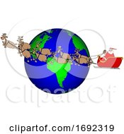 Poster, Art Print Of Cartoon Santa And Magic Reindeer Flying Over Earth