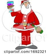 Cartoon Santa Giving A Christmas Toast