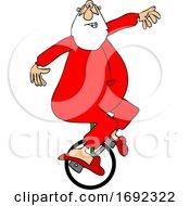 Cartoon Santa Riding A Unicycle In His PJs