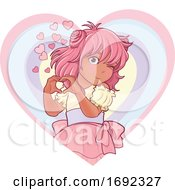 Pink Haired Anime Girl Forming A Heart With Her Hands