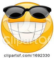 Poster, Art Print Of Yellow Smiley Emoji Wearing Sunglasses And Grinning