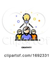 Icon With Business Team And Light Bulb As Creative Idea Symbol For Creativity Concept