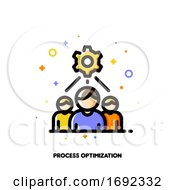 Poster, Art Print Of Icon With Business Team And Gear As Working Process Symbol For Project Development Optimization Concept