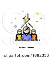 Poster, Art Print Of Icon With Business Team And Lightning As Brainstorming Symbol For Creative Ideas Generation Concept