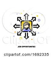 Icon Of Employees Photo And Diverging Arrows For Career Opportunities Concept