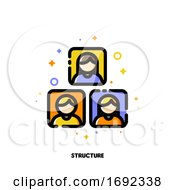 Poster, Art Print Of Company Organizational Structure Icon For Human Resources Management Or Business Hierarchy Concept