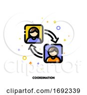 Team Coordination Icon For Concept Of Participation In A Group