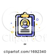 Icon Of Clipboard With Person Photo And Text For Curriculum Vitae Or Resume Concept