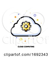 Icon Of Cloud And Gear For Cloud Data Technology Solutions Concept