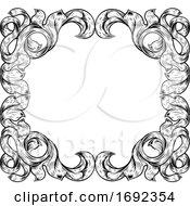Poster, Art Print Of Filigree Leaves Frame Floral Border Scroll Pattern