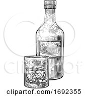Whiskey Bottle And Glass With Ice Engraving Style