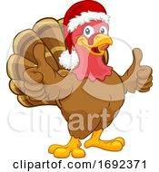 Turkey In Santa Hat Christmas Thanksgiving Cartoon