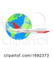 Earth And Airplane by AtStockIllustration