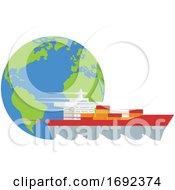 Poster, Art Print Of Logistics Globe Cargo Container Ship Concept