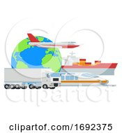 Poster, Art Print Of Logistic Transport Globe Cargo Freight Concept
