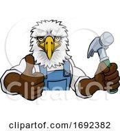 Poster, Art Print Of Eagle Carpenter Handyman Builder Holding Hammer