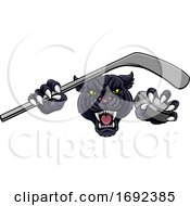 Panther Ice Hockey Player Animal Sports Mascot by AtStockIllustration