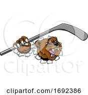 Bear Ice Hockey Player Animal Sports Mascot by AtStockIllustration