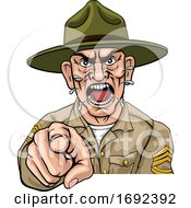 Poster, Art Print Of Angry Army Bootcamp Drill Sergeant Cartoon