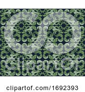 Floral Leaves Filigree Pattern Seamless Background