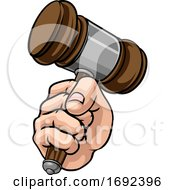 Fist Hand Holding Judge Hammer Gavel Cartoon