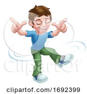 Boy Kid Cartoon Child Character Dancing by AtStockIllustration
