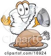 Tornado Mascot Cartoon Character Serving A Thanksgiving Turkey On A Platter