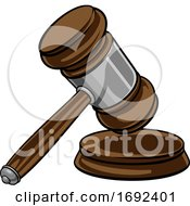Judge Hammer Wooden Gavel And Base Cartoon