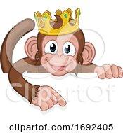 Monkey King Crown Cartoon Animal Pointing At Sign