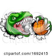 Poster, Art Print Of Dinosaur Basketball Player Animal Sports Mascot
