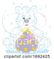 Cute Polar Bear With A Gift