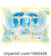Poster, Art Print Of House Cat In A Window On A Winter Night