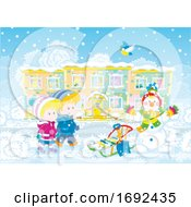 Poster, Art Print Of Children With A Sled And Snowman
