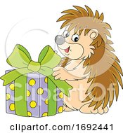 Cute Hedgehog With A Gift